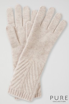 Pure Collection Natural Cashmere Ribbed Gloves