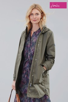 Joules Green Loxley Longline Waterproof Jacket