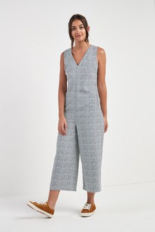 Print Cropped Jumpsuit
