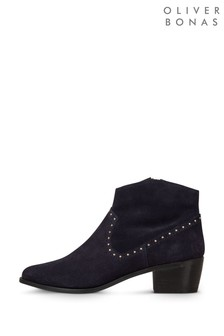 Oliver Bonas Blue Studded Suede Boots