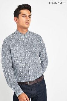 GANT White Micro Floral Print Regular Shirt