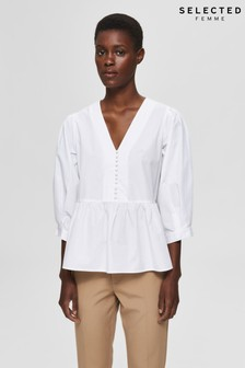 Selected Femme White Cropped Blouse