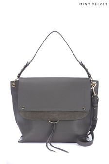 Mint Velvet Grey Sadie Leather Shoulder Bag