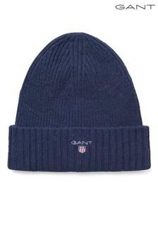 Modrá pletená vlnená čiapka GANT