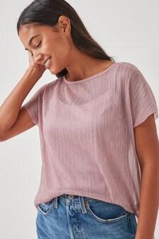 Metallic Plissé Short Sleeve Top
