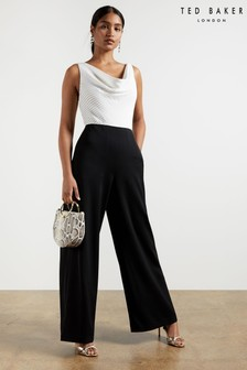 Ted Baker Kieva Cowl Neck Pleat Detail Wide Leg Jumpsuit
