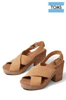TOMS Tan Leather Ibiza Cross Strap Heels