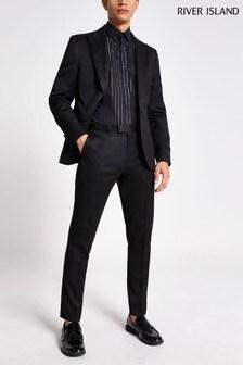 River Island Black Emboy Tux Skinny Trousers
