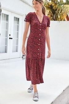 Чайное платье средней длины
