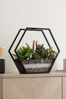 Artificial Succulents In Terrarium