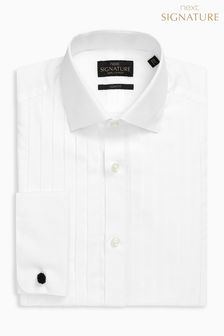 Signature Pleated Double Cuff Slim Fit Shirt