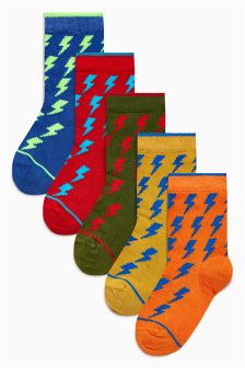 Lightning Bolt Socks Five Pack (Older)