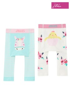 Joules White Lively 2 Pack Character Knit Leggings