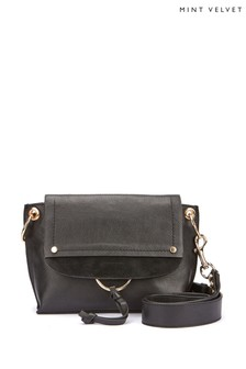 Mint Velvet Black Marnie Leather Cross-Body Bag