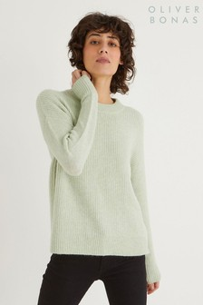 Oliver Bonas Button Side Pistachio Jumper