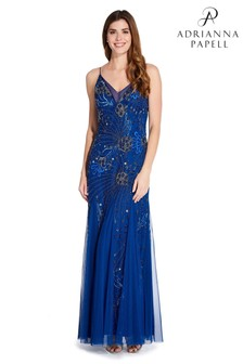 Adrianna Papell Blue Floral Beaded V-Neck Gown
