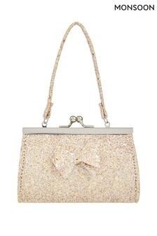 Monsoon Gold Giselle Glitter Bow Mini Bag