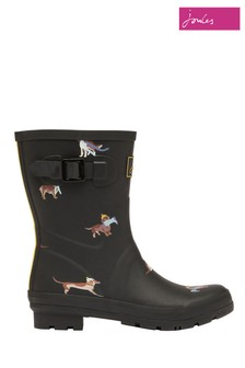 Joules Black Molly Mid Height Printed Wellies