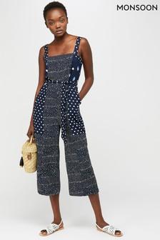 Monsoon Ladies Blue Edie Print Crop Jumpsuit