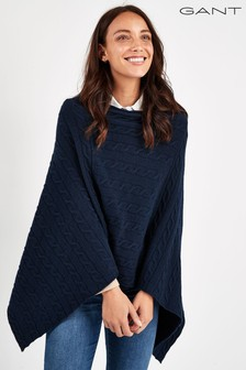 GANT Navy Lambswool Cable Poncho