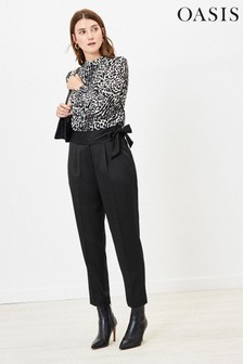 Oasis Black Satin Peg Trousers