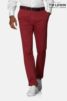 T.M. Lewin Radcliffe Chinos In Red Larusmiani Blend