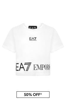 EA7 Emporio Armani Girls White Cotton T-Shirt