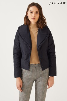 Jigsaw Navy Shawl Collar Padded Jacket