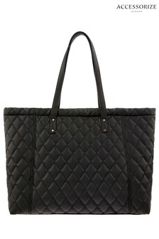 Accessorize Black Quilted Tote
