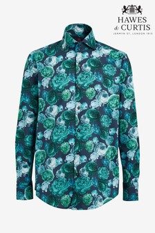 Hawes & Curtis Green Single Cuff Saturated Roses Shirt