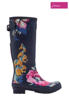 Joules Blue Floral Printed Welly With Adjustable Back Gusset