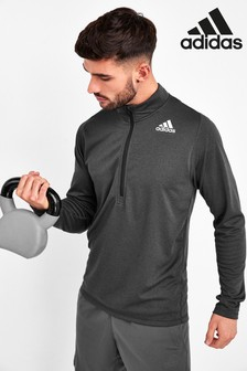 adidas Black 1/2 Zip Sweat Top