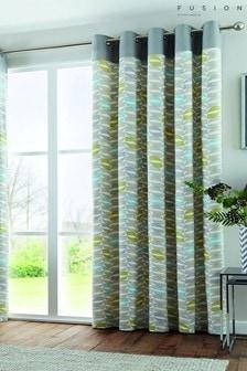 Fusion Copeland Geo Lined Eyelet Curtains