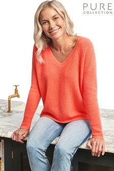 Pure Collection Orange Gassato Cashmere Textured V-Neck Sweater