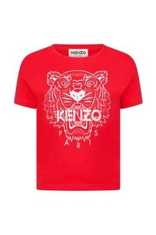 Kenzo Kids Girls Red Cotton T-Shirt