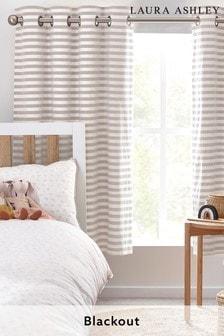 Laura Ashley Natural Woven Stripe Eyelet Blackout Curtains