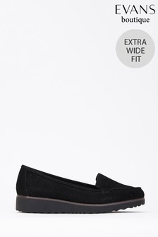 Evans Extra Wide Fit Black Flatform Loafer