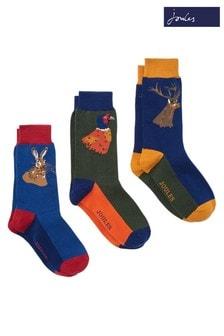 Joules Green Striking Socks Three Pack
