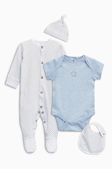 Sleepsuit, Short Sleeved Bodysuit, Bib And Hat (0-9mths)