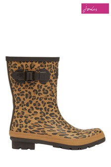 Joules Brown Molly Mid Height Printed Wellies