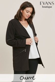 Evans Curve Black Zip Pocket Jacket