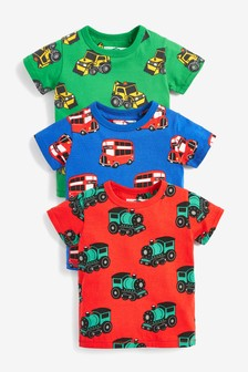 3 Pack Printed Transports T-Shirts (3mths-7yrs)