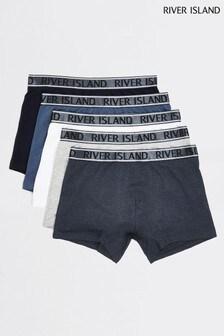 River Island Blue Metallic Trunks Five Pack