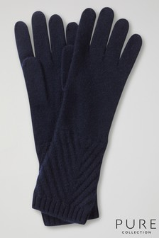 Pure Collection Blue Cashmere Ribbed Gloves