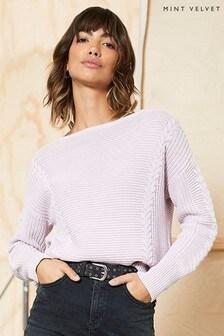 Mint Velvet Purple Cabled Cotton Jumper