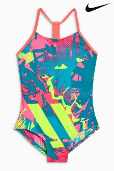Nike Pink Print T Back Swimsuit