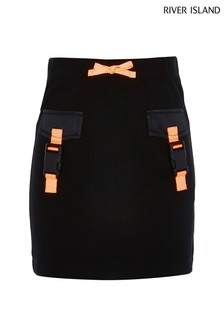 River Island Black Buckle Skirt
