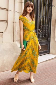 Boden Yellow Fiona Midi Dress