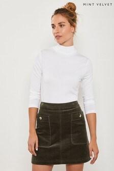 Mint Velvet Khaki Cord Mini Skirt