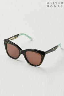 Oliver Bonas Rome Green Tortoiseshell Effect Cat Eye Acetate Sunglasses